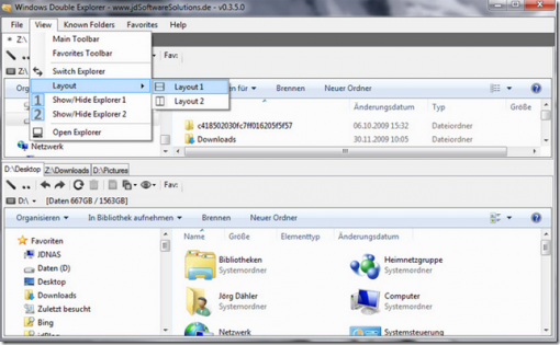 Integrate 2 windows explorer into 1 with windows double explorer