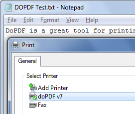 Convert any printable document into PDF using DoPDF