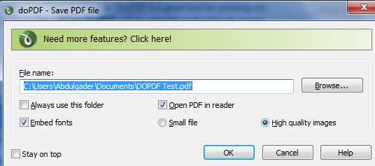 Convert any printable document into PDF using DoPDF