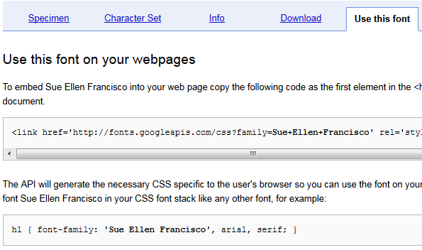 Embed fonts into CSS using Google Web Fonts directory