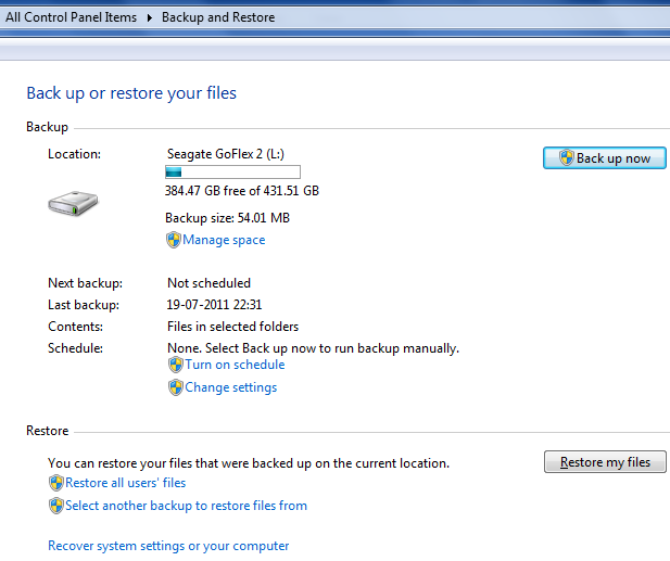 Restore backup data in Windows 7