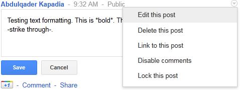 Google+ Tricks - Edit posts