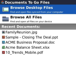 Documents To Go for BlackBerry PlayBook