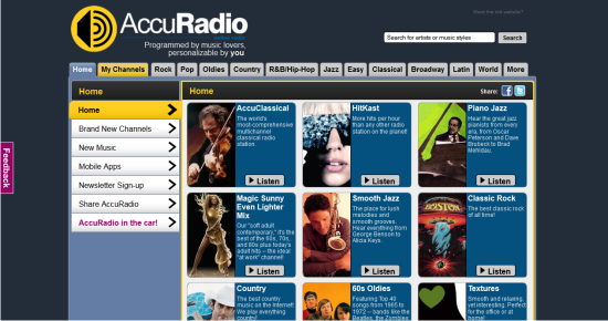 Online Services to Stream and Listen to Music AccuRadio