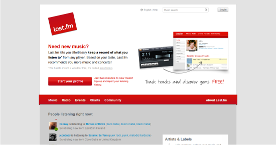 Online Services to Stream and Listen to Music LastFM