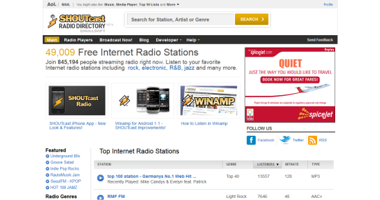 Online Services to Stream and Listen to Music ShoutCast