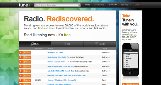 Online Services to Stream and Listen to Music TuneIn